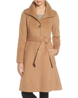 Luxe Wool Blend Belted Long A-line Coat