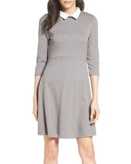 'fast Fresh' Collared Jersey Fit & Flare Dress