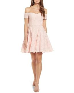 Lace Off The Shoulder Fit & Flare Dress