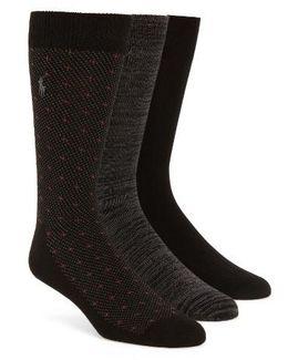 Supersoft Diamond Dot Assorted 3-pack Socks, Black