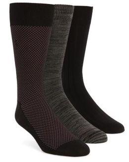 Supersoft Bird's Eye Assorted 3-pack Socks, Black
