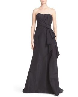 Bow Detail Strapless Silk Faille Gown