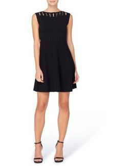 Candace Keyhole Detail Knit Fit & Flare Dress