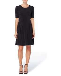 Jonni Pleat Jersey Fit & Flare Dress