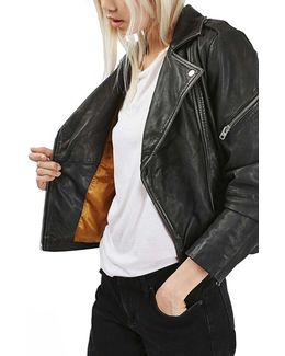 'Lightning' Leather Biker Jacket