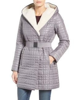 Faux Shearling Lined Puffer Coat