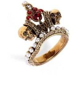 Crown Skull Statement Ring