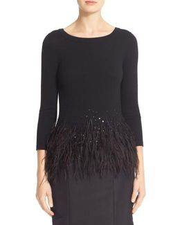 Sequin & Feather Trim Wool Sweater