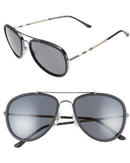 58mm Aviator Sunglasses - Gunmetal