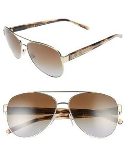 60mm Polarized Aviator Sunglasses - Pale Gold