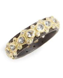 Old World Lacy Eternity Diamond & Sapphire Ring