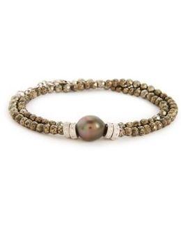 Old World Semiprecious Stone & Diamond Beaded Bracelet