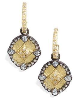 Old World Shield Diamond Drop Earrings
