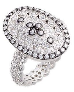 Pave Cubic Zirconia Clover Ring