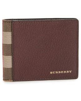 Check Leather Wallet