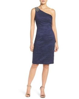 Embellished Taffeta Sheath Dress
