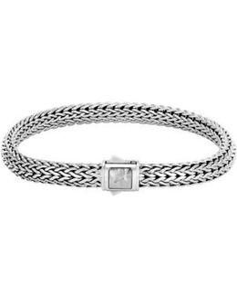 Classic Chain Medium Hammered Clasp Bracelet