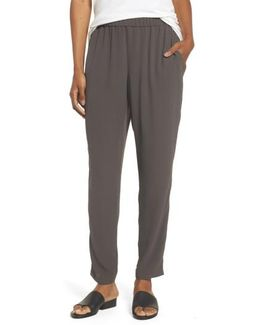 Slouchy Silk Crepe Ankle Pants