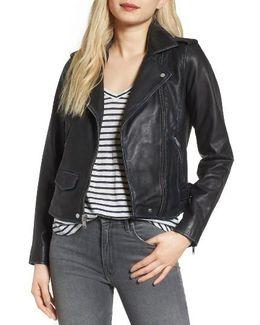 Whitney Washed Leather Crop Jacket