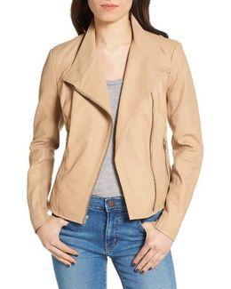 Felicia Asymmetrical Zip Leather Jacket