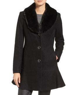 Removable Faux Fur Collar Skirted Coat
