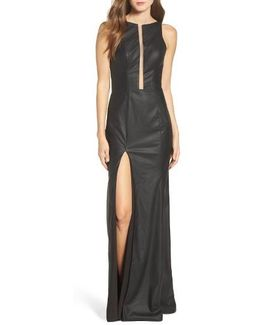 Faux Leather Open Back Gown