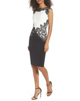 Feather Applique Sheath Dress