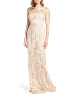 Sleeveless Embroidered Tulle Gown