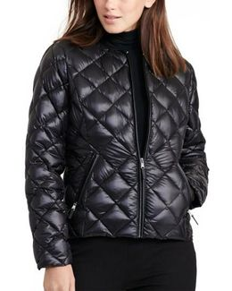 Quilted Collarless Down Jacket