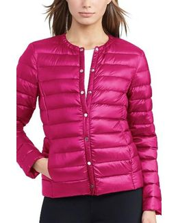 Packable Quilted Collarless Down Jacket, Red