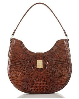 Bethany Croc Embossed Leather Hobo