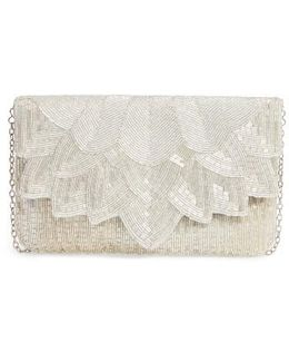 Beaded Petal Flap Clutch - Metallic
