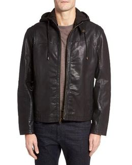 Leather Moto Jacket With Knit Hood
