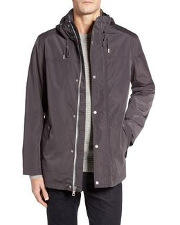 Packable Hooded Rain Jacket, Grey
