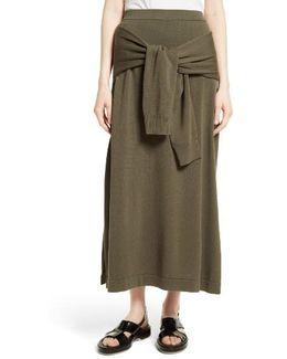Tie Detail Knit Maxi Skirt