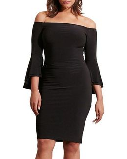Off The Shoulder Jersey Sheath Dress