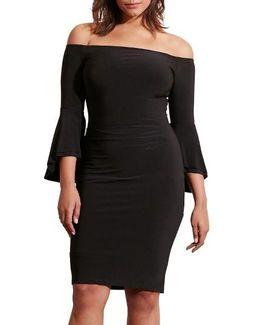 Off The Shoulder Jersey Sheath Dress