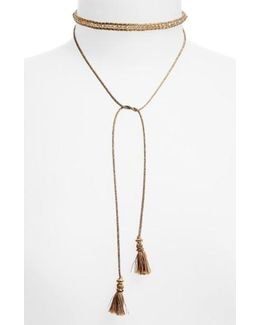 Sunflower Crystal Lariat Necklace