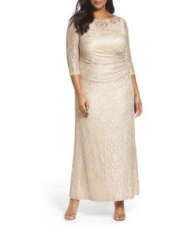 Alex Evening Embellished Lace Column Gown