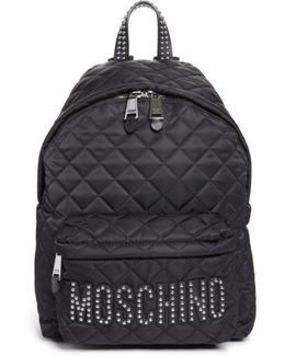 Studded Logo Quilted Nylon Backpack