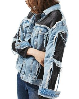 Moto Organza Oversized Denim Jacket