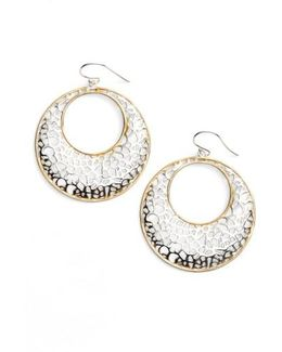 Two Tone Circle Lace Earrings