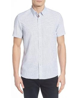 Lenshor Extra Slim Fit Geo Print Sport Shirt