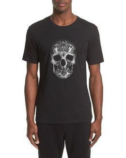 Embroidered Skull Graphic T-shirt