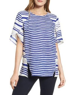 Tulip Sleeve Stripe Blouse