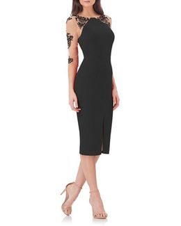 Crepe Midi Dress With Tattoo Embroidery