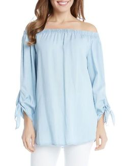 Tie Sleeve Off The Shoulder Chambray Top
