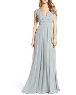 Sleeveless Deep V-neck Chiffon Gown