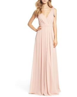 Sleeveless Deep V-neck Chiffon Gown