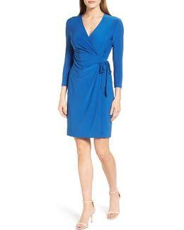 Stretch Jersey Faux Wrap Dress